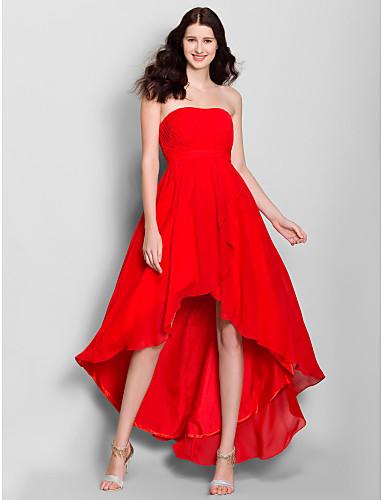 Γραμμή Α Στράπλες Ασύμμετρο Σιφόν Φόρεμα Παρανύμφων με Πλαϊνό ντραπέ με LAN TING BRIDE®