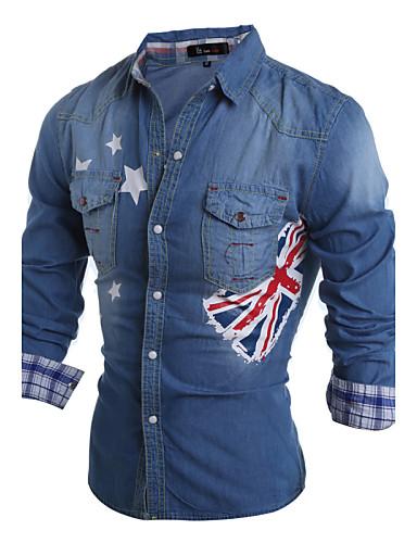 Polyester Langermet, Skjortekrage Skjorte Vår Høst Fritid Daglig Herre