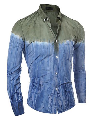 Bomull Skjorte Herre - Fargeblokk, Trykt mønster