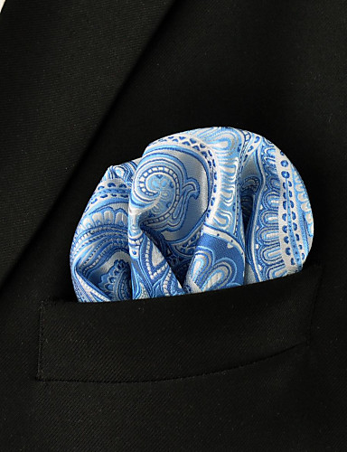 Men's Paisley Laight Blue Dress 100% Silk Business Fashion Pocket Square