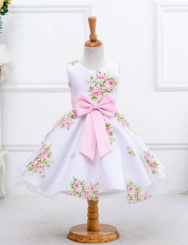 Princesa Até os Joelhos Vestido para Meninas das Flores - Polyster Sem Manga Decorado com Bijuteria com Estilo Floral Disperso Arco de