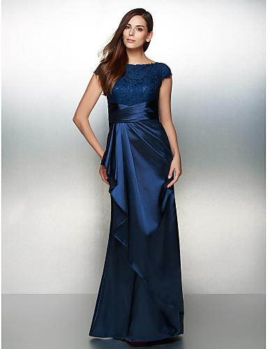 Eng anliegend U-Ausschnitt Knöchel-Länge Charmeuse Cocktailparty / Formeller Abend Kleid mit Spitze / Kaskaden Rüschen durch TS Couture®