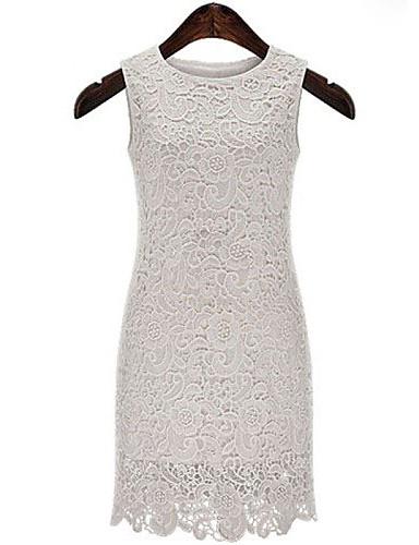 γυναικών στερεό φόρεμα, εφαρμοστό, δαντέλες