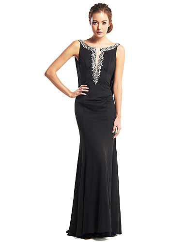 Mermaid / Trumpet Scoop Neck Floor Length Jersey Beautiful Back Prom / Formal Evening Dress with Beading by TS Couture®