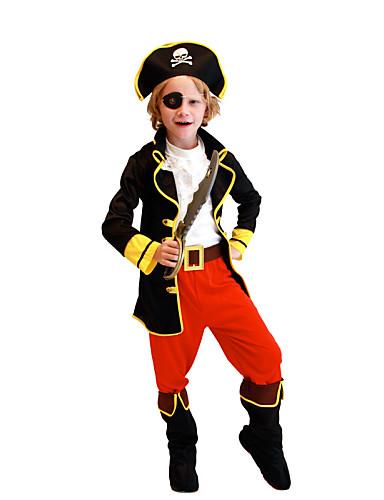 levne Cosplay a kostýmy-Pirát Cosplay Kostýmy Filmové kostýmy Černá Vrchní deska Kalhoty Pásek Vánoce Halloween Nový rok Polyester / Klobouk