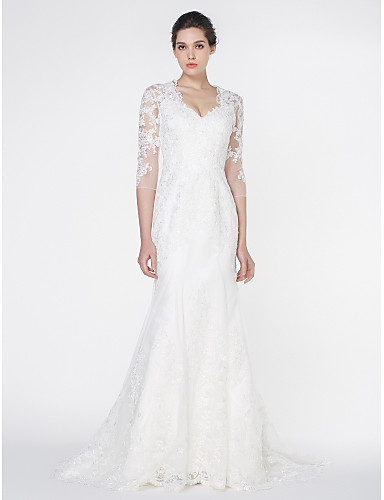80406242820f2 Mermaid / Trumpet V Neck Court Train Tulle / All Over Lace Made-To-Measure Wedding  Dresses with Appliques / Lace by LAN TING BRIDE® / See-Through #03026377
