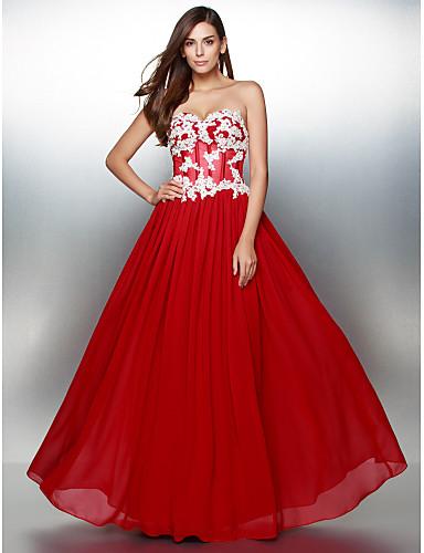 A-Şekilli Kalp Yaka Yere Kadar Şifon Aplik ile Balo Resmi Akşam Elbise tarafından TS Couture®