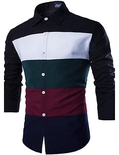 Men's Work Cotton Slim Shirt - Color Block Patchwork Spread Collar / Long Sleeve