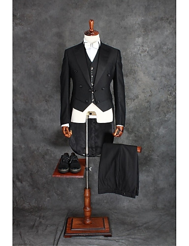 Black Solid Tailored Fit Cotton Blend Suit - Notch Double Breasted Four-buttons