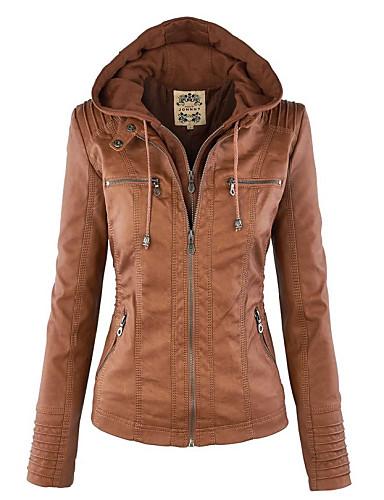 זול פרוות ועור לנשים-כותנה בגדי ריקוד נשים חום חום בהיר אפור בהיר L XL XXL ז'קטים מעור וינטאג' / סגנון רחוב אחיד