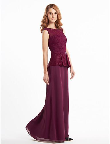 Ίσια Γραμμή Scoop Neck Μακρύ Σιφόν Δαντέλα Φόρεμα Μητέρας της Νύφης - Δαντέλα με LAN TING BRIDE®