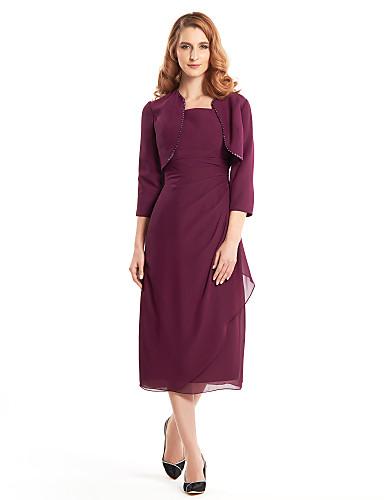 Ίσια Γραμμή Τετράγωνη Λαιμόκοψη Κάτω από το γόνατο Σιφόν Φόρεμα Μητέρας της Νύφης με Χάντρες με LAN TING BRIDE®
