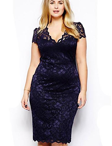 Women's Lace Plus Size Blue Dress,Short Sleeve V Neck
