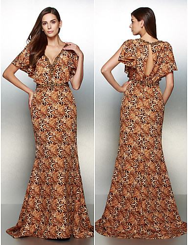 Mermaid / Trumpet V-neck Sweep / Brush Train Chiffon Formal Evening Dress with Pattern / Print by TS Couture®