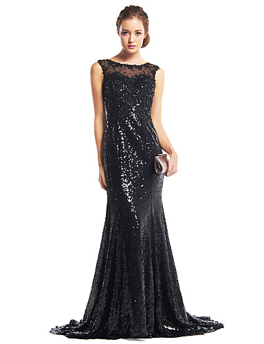 Mermaid / Trumpet Scoop Neck Sweep / Brush Train Sequined Formal Evening Dress with Sequins by TS Couture®
