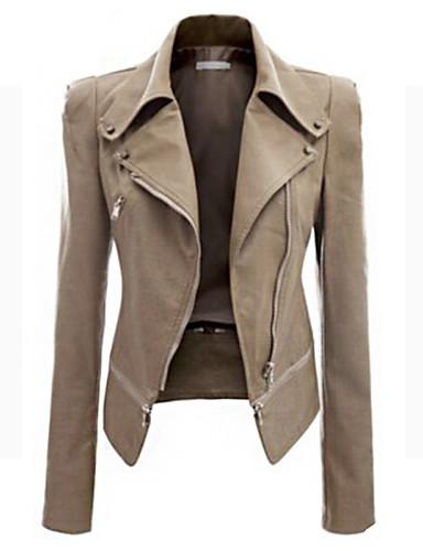 Women's Vintage Leather Jacket - Solid