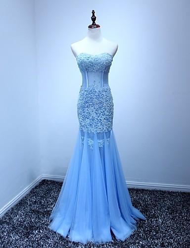 Sirena kroj Srcoliki izrez Do poda Til Prom Formalna večer Haljina s Perlica Aplikacije po TS Couture®