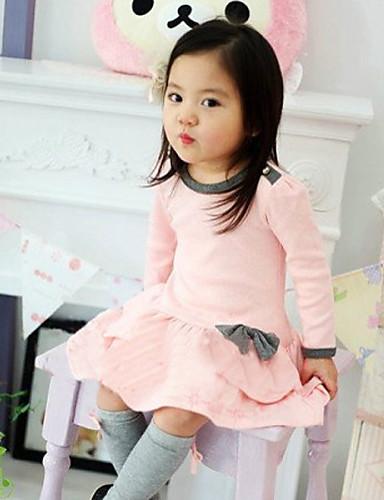 Pamut Egyszínű Tavasz Ősz Hosszú ujj Lány Ruha Csokor Sötétkék Rózsaszín