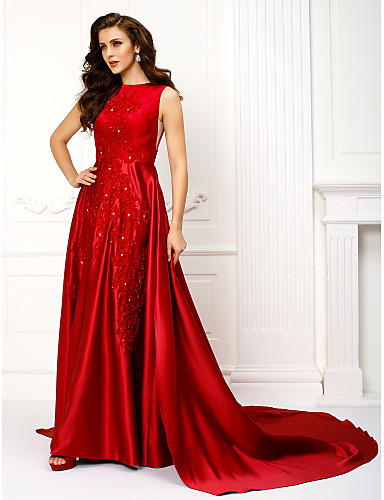 cheap Prom Dresses-A-Line Jewel Neck Chapel Train Lace Over Satin Prom / Formal Evening Dress with Appliques by TS Couture®