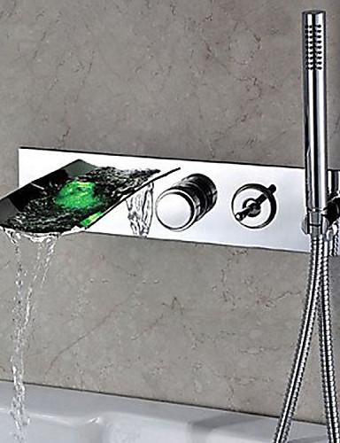 billige LED Badekarskran-Badekarskran - Moderne Krom Centersat Messing Ventil Bath Shower Mixer Taps / Enkelt håndtak tre hull