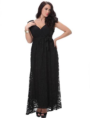 Beach Plus Size Loose Swing Dress,Solid Deep V Midi Sleeveless Polyester Spring Micro-elastic Thin