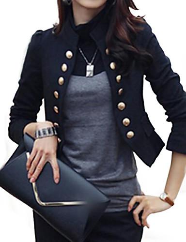 رخيصةأون ملابس نسائية-قطن نسائي أبيض أسود L XL XXL سترة أساسي لون سادة مرتفعة عمل