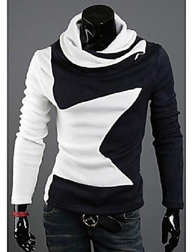Camisa Casual ( Algodão ) MEN - Casual / Trabalho Colarinho Alto - Manga Comprida