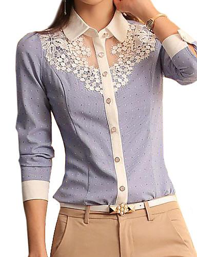 abordables Camisas y Camisetas para Mujer-Mujer Encaje Camisa, Cuello Camisero Un Color Azul y Blanco Azul Claro L / Primavera