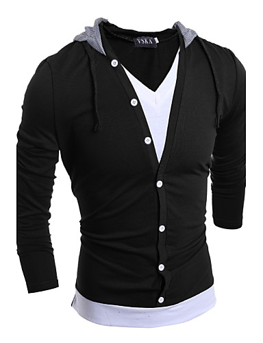 Hombre Chic de Calle Deportes Discoteca Algodón Camiseta, Con Capucha Un Color
