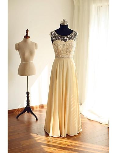 A-Şekilli Illüzyon boyun çizgisi Yere Kadar Şifon Boncuklama Düğme ile Resmi Akşam Elbise tarafından TS Couture®