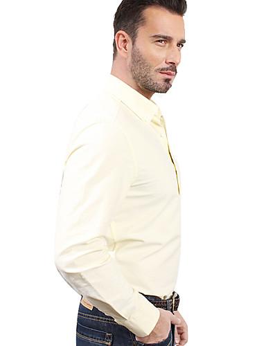 JamesEarl Masculino Colarinho de Camisa Manga Comprida Shirt & Blusa Amarelo - M81XF000709