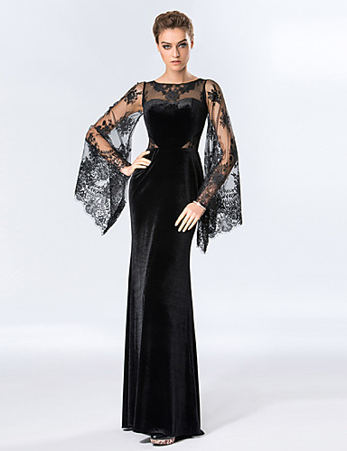 Sheath / Column Illusion Neckline Floor Length Velvet Floral Lace Formal Evening Dress with Lace Inset by TS Couture®