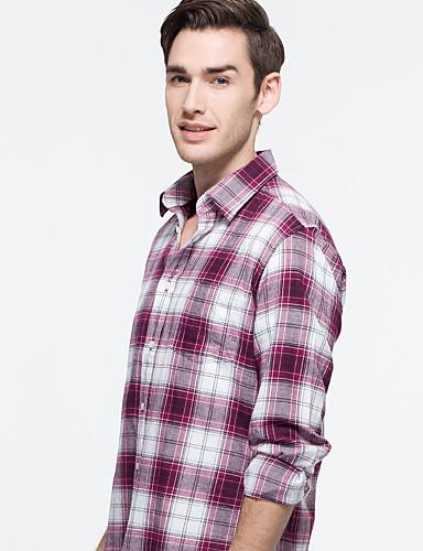 JamesEarl Masculino Colarinho de Camisa Manga Comprida Shirt & Blusa Vermelho - DA202046901