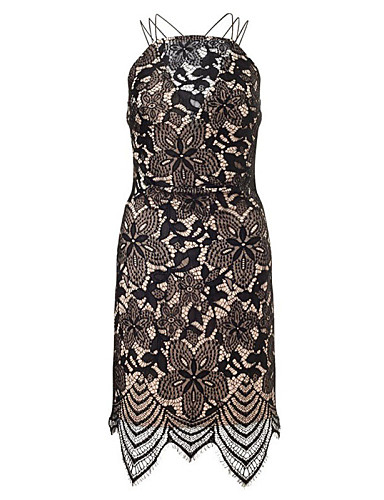 Women's Bodycon Dress - Solid, Lace Strap