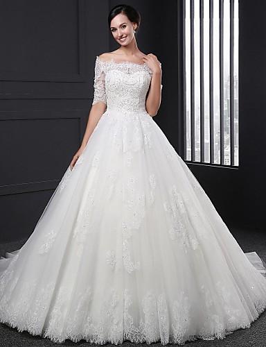Báli ruha Menyasszonyi ruha Udvari uszály Ejtett vállú Csipke val vel Rátétek