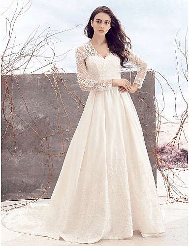 Kate Style A-Line V Neck Chapel Train Lace Over Satin Made-To-Measure Wedding Dresses with Lace by LAN TING BRIDE® / See-Through / Royal Style