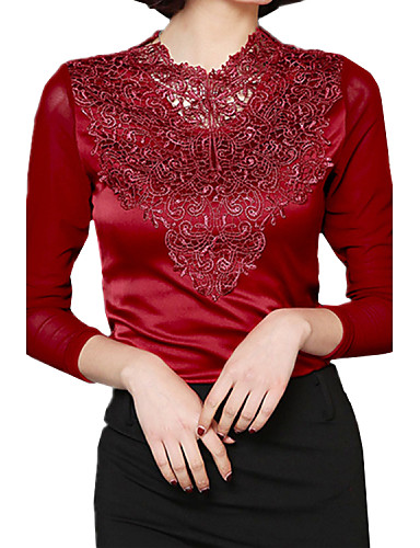 Terített nyak Női Extra méret Blúz - Egyszínű, Csipke Háló Műselyem