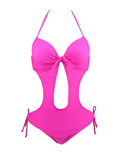 Women's Solid Solid High Rise Bandeau Monokini Swimwear Yellow Fuchsia
