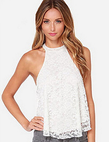 Women's Going out Tank Top - Solid Colored Lace / Summer