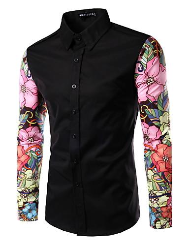 Homens Camisa Social Patchwork, Floral Colarinho Italiano Delgado