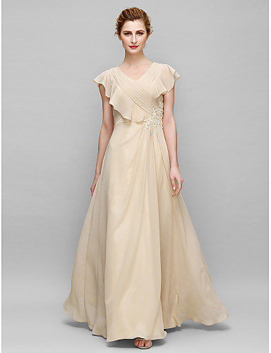 Sheath / Column V-neck Floor Length Chiffon Mother of the Bride Dress with Appliques Criss Cross by LAN TING BRIDE®