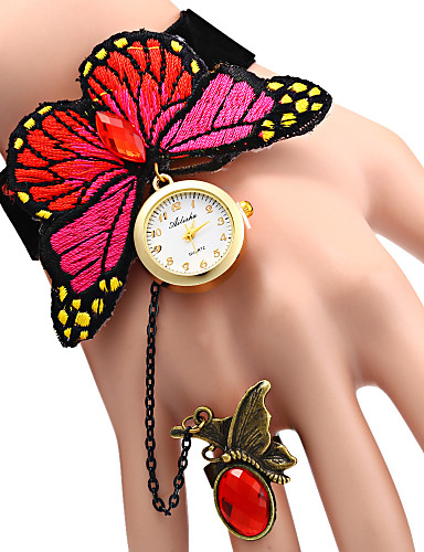 Bayanların Moda Saat Bilezik Saat Quartz Gündelik Saatler Kumaş Bant Kelebek Zarif Mavi Kırmızı Kırmzı Mavi