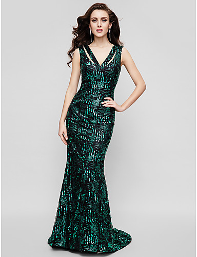 Sheath / Column / Mermaid / Trumpet V Neck Sweep / Brush Train Sequined Sparkle & Shine / Celebrity Style Formal Evening Dress with Sequin by TS Couture®