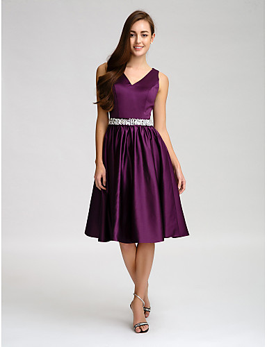 A-Line V Neck Knee Length Satin Bridesmaid Dress with Beading / Bow(s) / Buttons by LAN TING BRIDE®