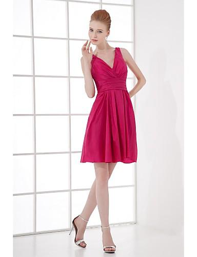 Lanting Bride® Kratki / mini Taft Haljina za djeverušu - A-kroj V izrez s Drapirano sa strane
