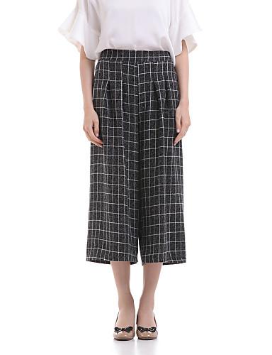 דק - קשיח - רגל רחבה - מכנסי נשים(פוליאסטר)