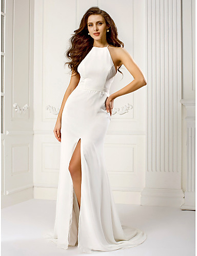 Sheath / Column Halter Sweep / Brush Train Chiffon Prom / Formal Evening Dress with Split Front by TS Couture®