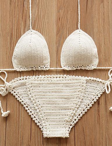 Damen Geflochtene Haarzöpfe Dreieck Bikinis Solide Halter Cheeky-Bikinihose