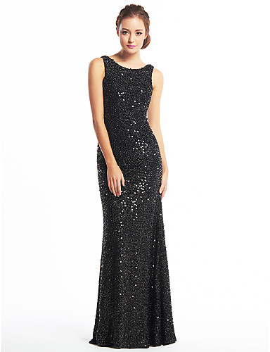 Mermaid / Trumpet Scoop Neck Floor Length Sequined Celebrity Style Prom / Formal Evening Dress with Sequin by TS Couture®