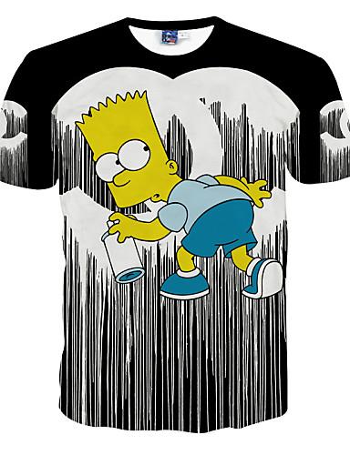 남성의 폴리에스테르 프린트 짧은 소매 캐쥬얼 티셔츠-블랙